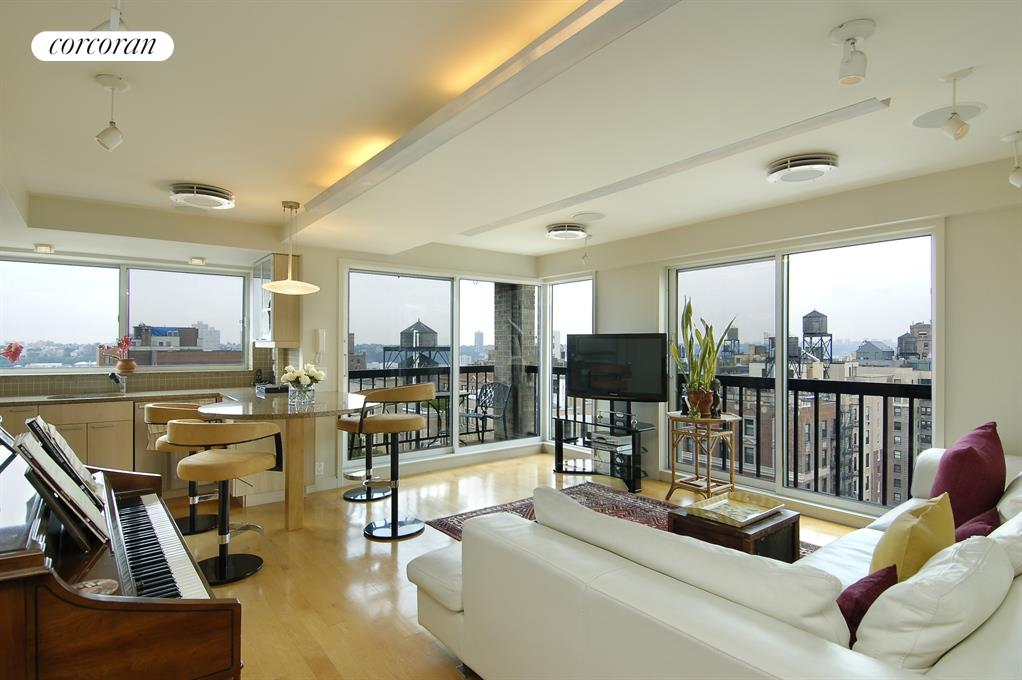 Living Room w/ floor to ceiling windows & terrace