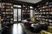 Library with French doors leading to terrace