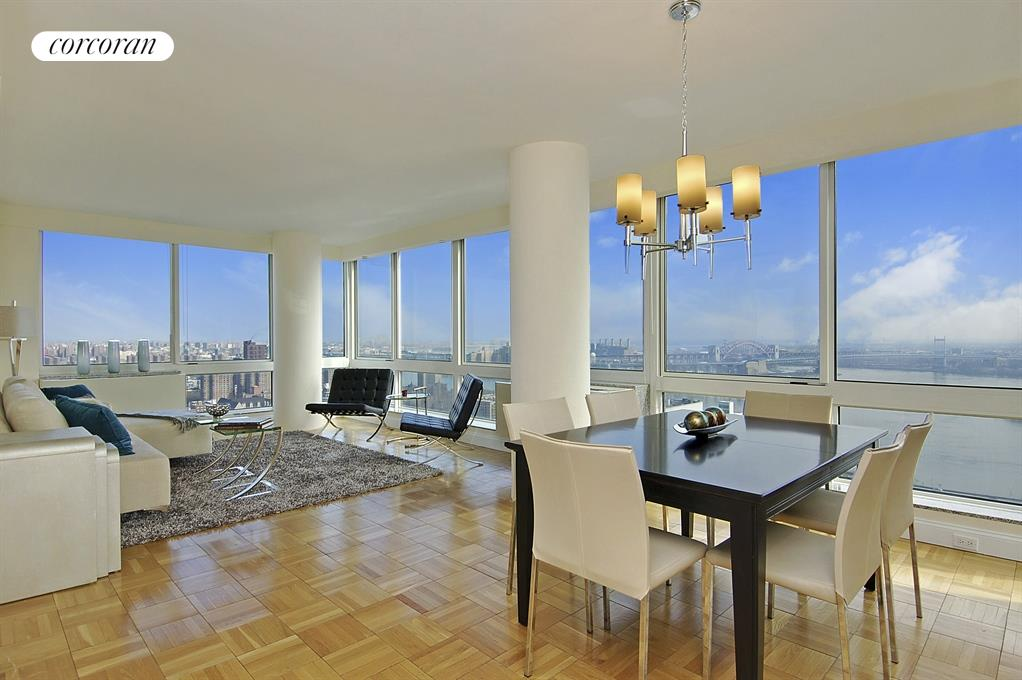 Expansive Living/Dining Room with Full River Views