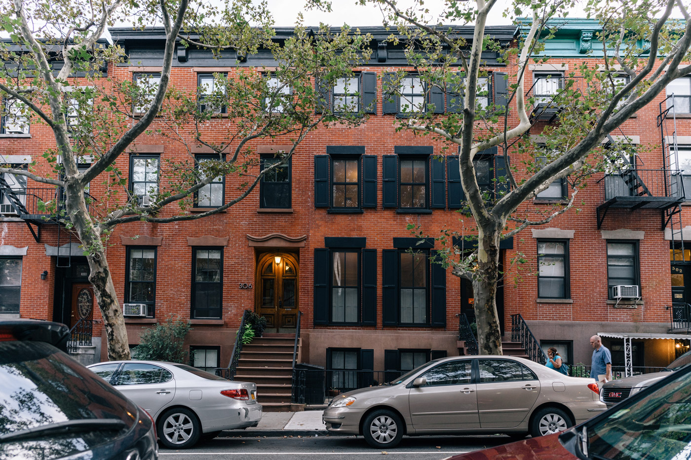 "Red brick residential buildings in Carroll Gardens"" style="